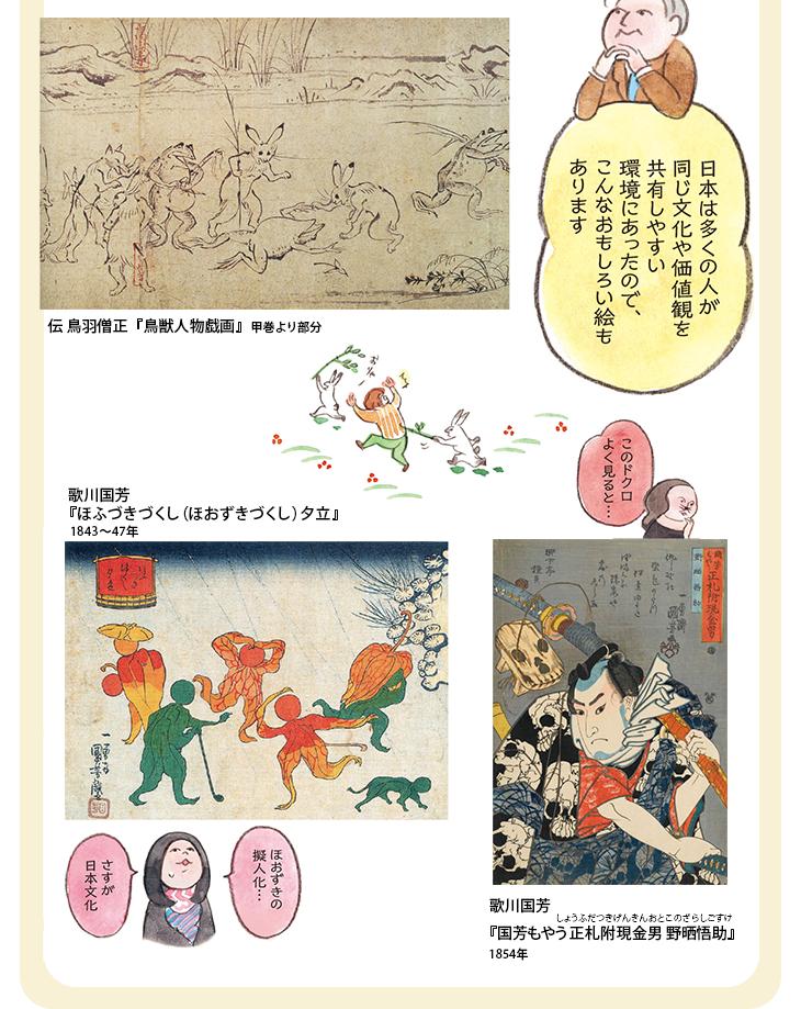 日本は多くの人が同じ文化や価値観を共有しやすい環境にあったので、こんなおもしろい絵もあります 伝 鳥羽僧正『鳥獣人物戯画』甲巻より部分 このドクロよく見ると… 歌川国芳『国芳もやう正札附現金男 野晒悟助』 ほおずきの擬人化…さすが日本文化 歌川国芳 『ほふづきづくし(ほおずきづくし) 夕立』1843~47年