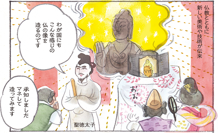 仏教とともに新しい美術や技術が伝来 聖徳太子 わが国にもこんな感じの仏の像を造るのです 承知しましたマネして造ってみます