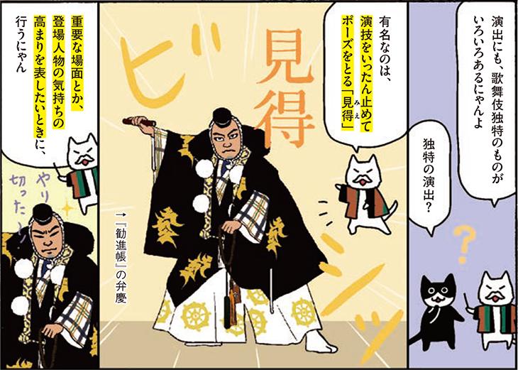 演出にも、歌舞伎独特のものがいろいろあるにゃんよ 独特の演出? 有名なのは、演技をいったん止めてポーズをとる「見得」 重要な場面とか、登場人物の気持ちの高まりを表したいときに行うにゃん