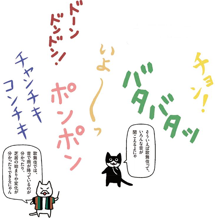 そういえば歌舞伎って、いろんな音が聞こえるよにゃ 歌舞伎では、音で雨が降っているのが分かったり、芝居の始まりや変化が分かったりできるにゃん