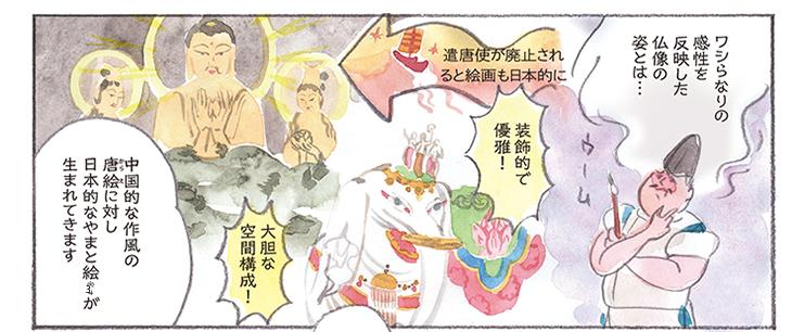遣唐使が廃止されると絵画も日本的に ワシらなりの感性を反映した仏像の姿とは… 装飾的で優雅! 大胆な空間構成! 中国的な作風の唐絵(からえ)に対し日本的なやまと絵※3が生まれてきます