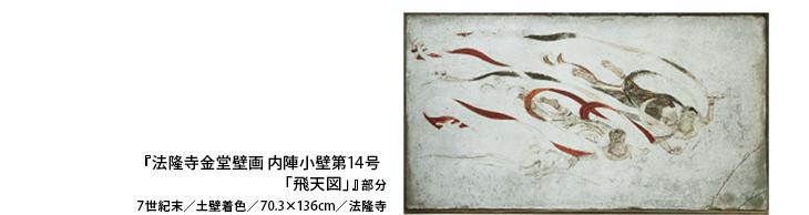 『法隆寺金堂壁画 内陣小壁第14号 「飛天図」』部分  7世紀末/土壁着色/70.3×136cm/法隆寺
