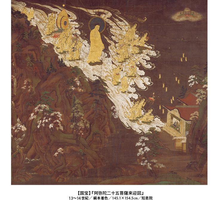 【国宝】『 阿弥陀二十五菩薩来迎図』 13~14 世紀/ 絹本着色/145.1×154.5cm/知恩院