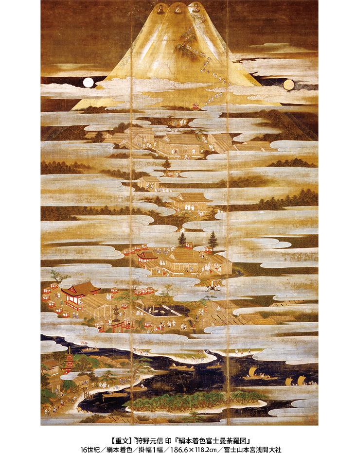 【重文】『狩野元信 印『絹本着色富士曼荼羅図』 16世紀/絹本着色/掛幅1幅/186.6×118.2cm/富士山本宮浅間大社