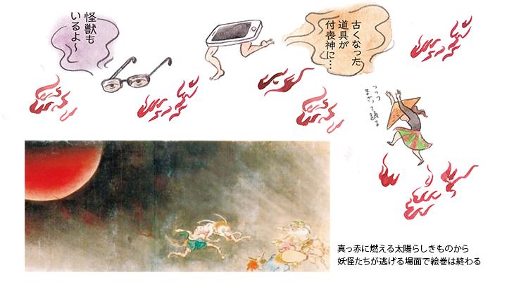 怪獣もいるよ~ 古くなった 道具が付喪神に… 真っ赤に燃える太陽らしきものから、妖怪たちが逃げる場面で絵巻は終わる