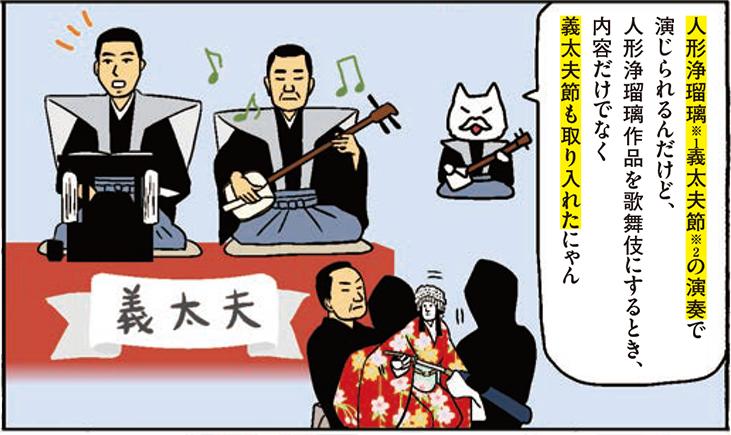 人形浄瑠璃(※1)義太夫節(※1)の演奏で演じられるんだけと、人形浄瑠璃作品を歌舞伎にするとき、内容だけでなく義太夫節も取り入れたにゃん