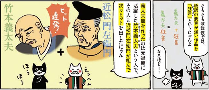義太夫節を作ったのは元禄期に活躍した竹本義太夫という人で、その人と近松門左衛門が組んで次々とヒットを出したにゃん