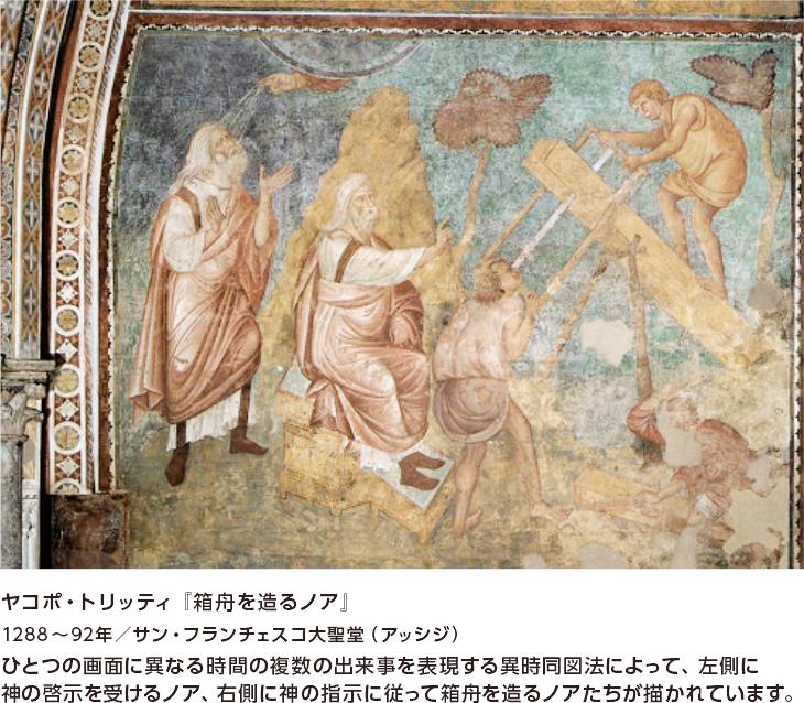 ヤコポ・トリッティ『箱舟を造るノア』 1288~92年/サン・フランチェスコ大聖堂(アッシジ) ひとつの画面に異なる時間の複数の出来事を表現する異時同図法によって、左側に神の啓示を受けるノア、右側に神の指示に従って箱舟を造るノアたちが描かれています。