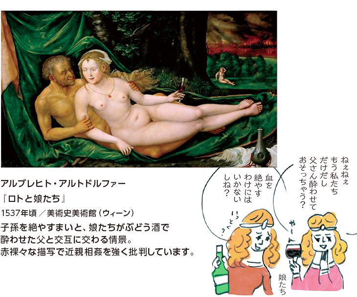 アルブレヒト・アルトドルファー『ロトと娘たち』1537年頃/美術史美術館(ウィーン) 子孫を絶やすまいと、娘たちがぶどう酒で酔わせた父と交互に交わる情景。赤裸々な描写で近親相姦を強く批判しています。