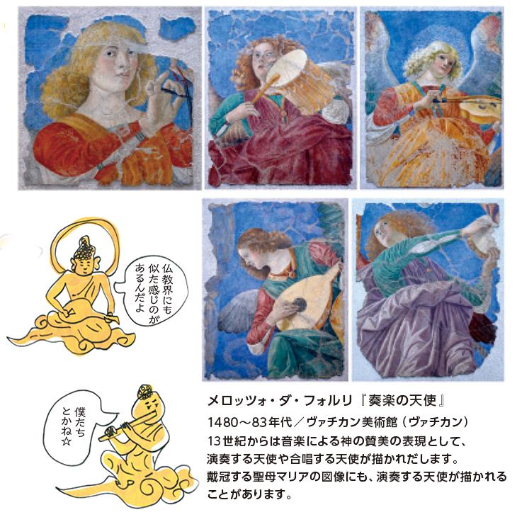 メロッツォ・ダ・フォルリ『奏楽の天使』1480~83年代/ヴァチカン美術館(ヴァチカン)13世紀からは音楽による神の賛美の表現として、演奏する天使や合唱する天使が描かれだします。戴冠する聖母マリアの図像にも、演奏する天使が描かれることがあります。