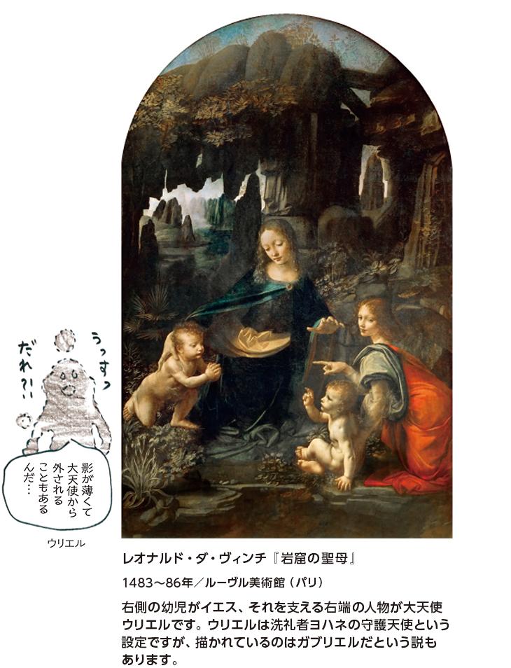 レオナルド・ダ・ヴィンチ『岩窟の聖母』1483~86年/ルーヴル美術館(パリ) 右側の幼児がイエス、それを支える右端の人物が大天使ウリエルです。ウリエルは洗礼者ヨハネの守護天使という設定ですが、描かれているのはガブリエルだという説もあります。