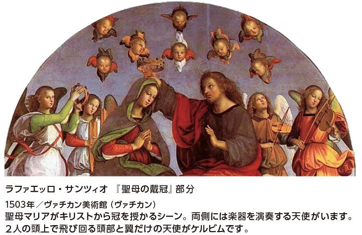 ラファエッロ・サンツィオ 『聖母の戴冠』部分 1503年/ヴァチカン美術館(ヴァチカン) 聖母マリアがキリストから冠を授かるシーン。両側には楽器を演奏する天使がいます。2人の頭上で飛び回る頭部と翼だけの天使がケルビムです。