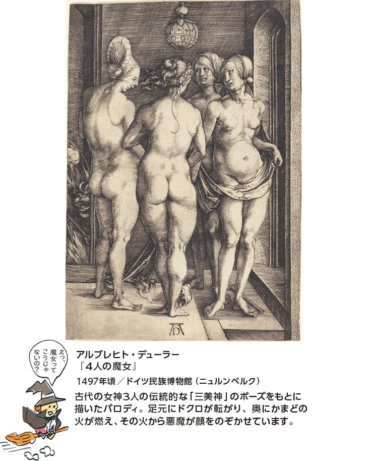 アルブレヒト・デューラー『4人の魔女』1497年頃/ドイツ民族博物館(ニュルンベルク) 古代の女神3人の伝統的な「三美神」のポーズをもとに描いたパロディ。足元にドクロが転がり、奥にかまどの火が燃え、その火から悪魔が顔をのぞかせています。