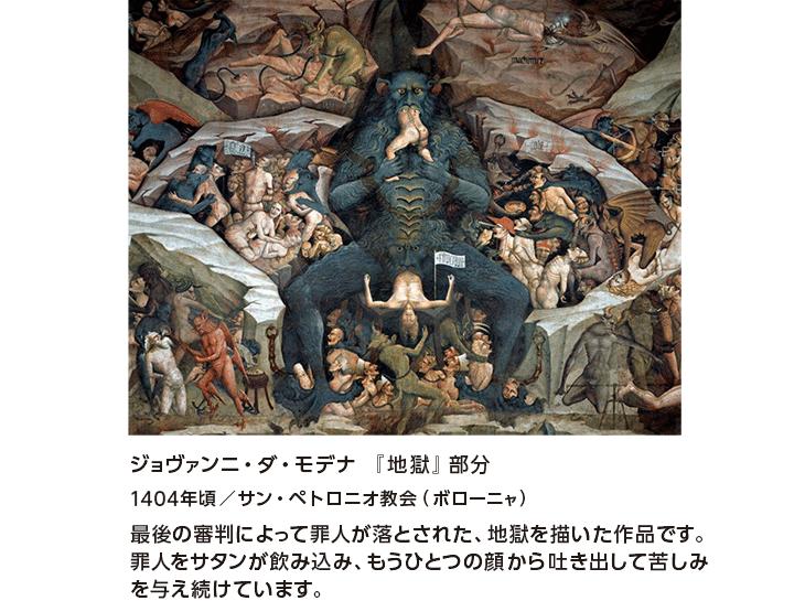 ジョヴァンニ・ダ・モデナ 『地獄』部分1404年頃/サン・ペトロニオ教会(ボローニャ) 最後の審判によって罪人が落とされた、地獄を描いた作品です。罪人をサタンが飲み込み、もうひとつの顔から吐き出して苦しみを与え続けています。