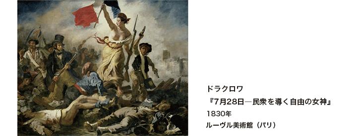 ドラクロワ『7月28日―民衆を導く自由の女神』1830年 ルーヴル美術館(パリ)